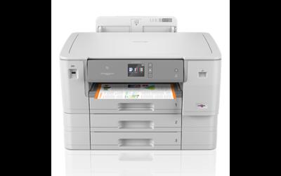 Brother HL-J6100DW Vergroot de productiviteit met de snelle, professionele en draadloze A3 kleureninkjetprinter met hoge capaciteit inktcartridges en drie papierladen.