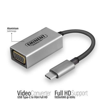 Eminent AB7871 kabeladapter/verloopstukje USB Type-C VGA Aluminium, Zwart