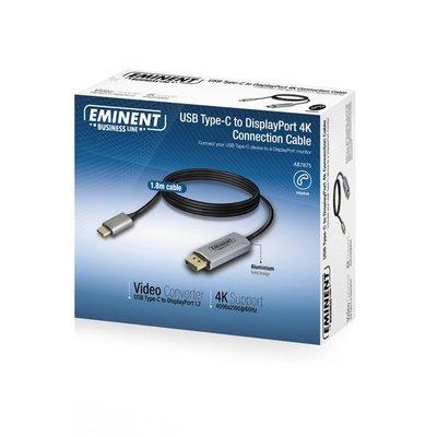 Eminent AB7875 kabeladapter/verloopstukje USB Type-C DisplayPort Zwart, Grijs