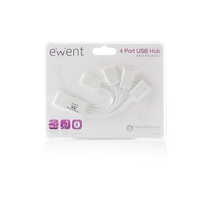 Ewent EW1110 480Mbit/s Wit hub & concentrator