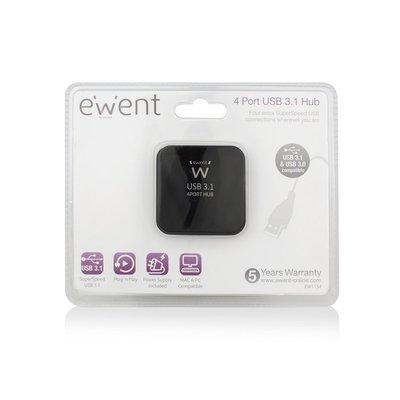 Ewent EW1134 USB 3.1 (3.1 Gen 2) Type-A 5000Mbit/s Zwart hub & concentrator