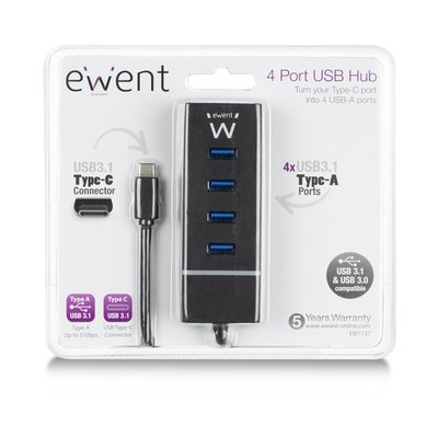 Ewent EW1137 interface hub USB 3.0 (3.1 Gen 1) Type-C 5000 Mbit/s Zwart