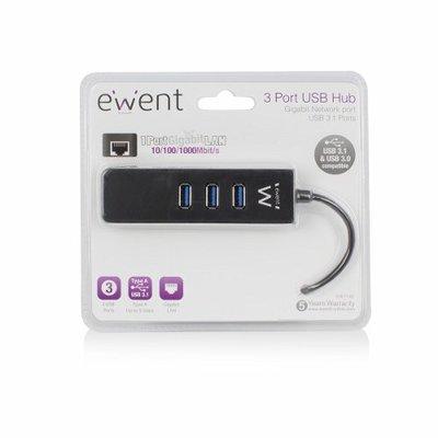 Ewent EW1140 USB 3.0 (3.1 Gen 1) Type-A 5000Mbit/s Zwart hub & concentrator