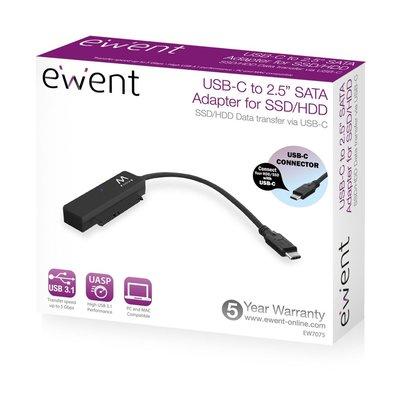 Ewent EW7075 kabeladapter/verloopstukje USB 3.1 Gen1 Type-C SATA Zwart