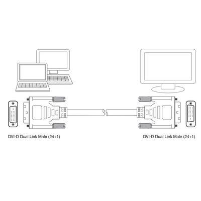 Ewent EW9835 DVI kabel 2 m DVI-D Zwart