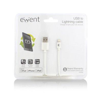 Ewent EW9908 Lightning-kabel 1 m Wit