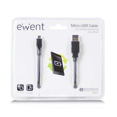 Ewent EW9911 mobiele telefoonkabel USB A USB Micro Zwart 1 m