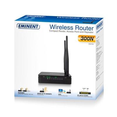 Eminent EM4700 draadloze router Single-band (2.4 GHz) Fast Ethernet Zwart