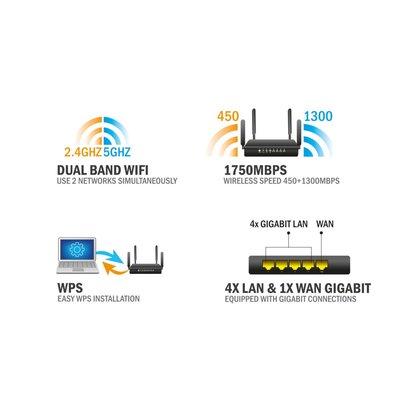 Eminent EM4720 draadloze router Dual-band (2.4 GHz / 5 GHz) Gigabit Ethernet Zwart