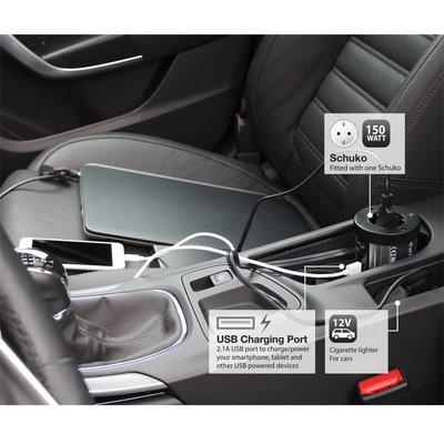 Ewent EW3990 netvoeding & inverter Auto 150 W Zwart, Zilver