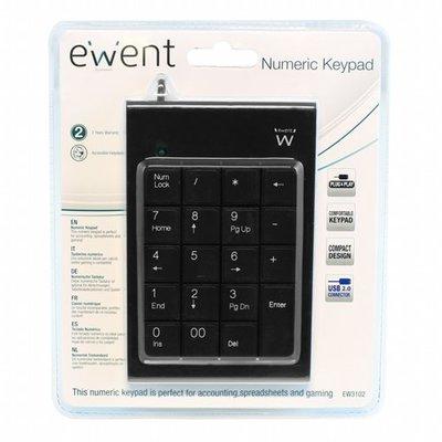 Ewent EW3102 numeriek toetsenbord USB PC/server Zwart