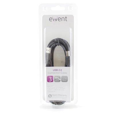 Ewent EW9621 USB-kabel 3 m USB A USB B Zwart