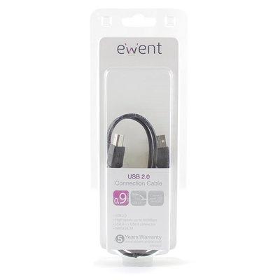 Ewent EW9625 USB-kabel 0,9 m USB A USB B Zwart