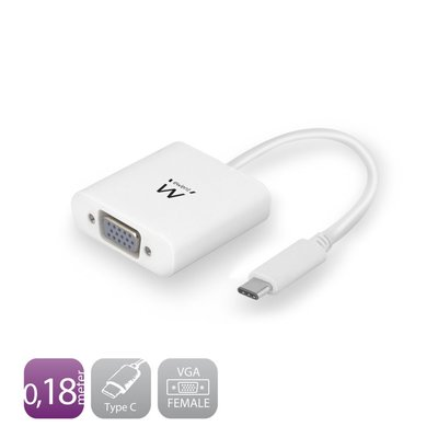 Ewent EW9821 video kabel adapter 0,18 m USB C VGA (D-Sub) Wit