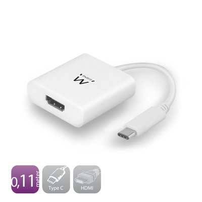 Ewent EW9822 video kabel adapter 0,11 m USB C HDMI Type A (Standard) Wit
