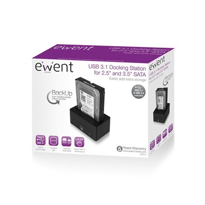 Ewent EW7012 USB 3.0 (3.1 Gen 1) Type-B Zwart HDD/SSD-dockingstation