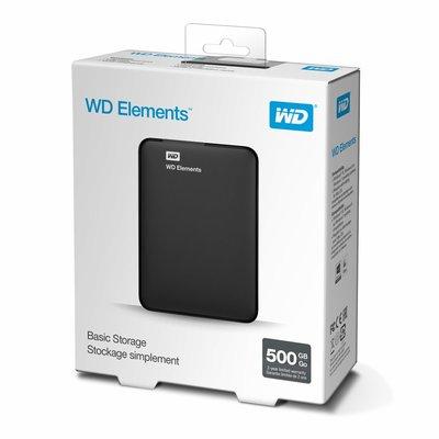 Western Digital Elements Portable 2.5 Inch externe HDD 500GB, Zwart