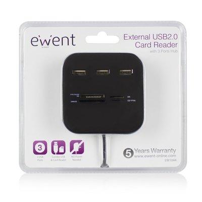 Ewent EW1044 geheugenkaartlezer USB 2.0 Zwart