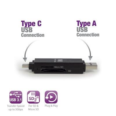 Ewent EW1075 USB 3.0 (3.1 Gen 1) Type-A/Type-C Zwart geheugenkaartlezer