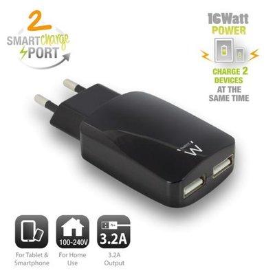 Ewent USB Charger 110-240V 2 port smart charging 3.1A black