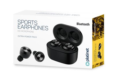 Platinet Bluetooth Wireless Earphones Sport + Dock / Black