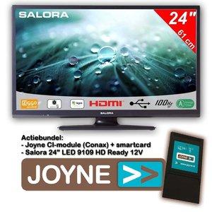 """Salora 24"""" LED 9109 DVB C/T2/S2 HDr 12V + Joyne CI Bundel"""
